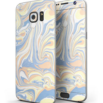 Marbleized Swirling Blue and Gold - Full Body Skin-Kit for the Samsung Galaxy S7 or S7 Edge
