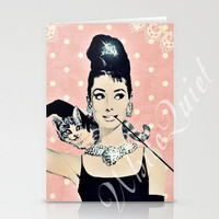 DIY - Six BreakFast at Tiffany's Pictures  - Audrey Hepburn - Printable Digital Paints - Movie Poster - Shabby Chic Vintage Style