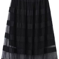 Black Stripe Sheer Mesh Skirt