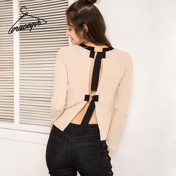 Autumn Women Knitted Sweater Series Winter Casual Sexy Hollow Out Back Pullovers Sweater Female