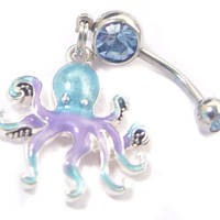 Funny Octopus ****  BELLY NAVEL button RING
