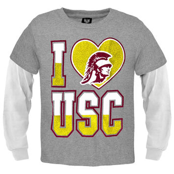 USC Trojans - Glitter I Heart Logo Girls Juvy Soft 2fer Long Sleeve T-Shirt