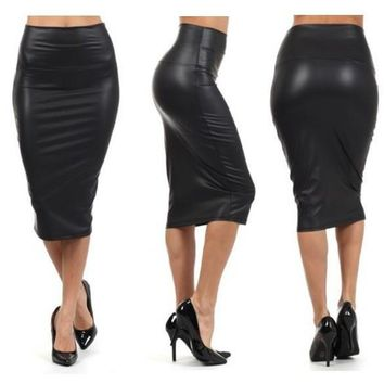 Faux Leather Mermaid Pencil Skirt S - 3XL