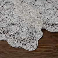 Oval crochet doily / tablecloth / lace runner / white, shabby chic home decor Set of 2 crochet doilies