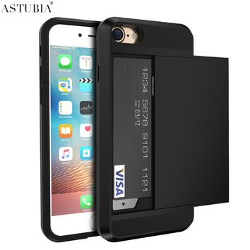 Armor Slide Case For iPhone 5s Case Card Slot Holder Cover For Coque iPhone 6 Case Shockproof Hard Plastic Fundas Para Shell