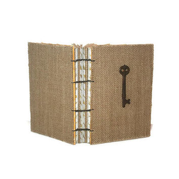 Wedding Guest book, Rustic Burlap and Vintage Skeleton Key, Journal, Sketchbook