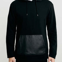 Black Leather Look Pocket Hoody - Men's Hoodies & Sweats - Clothing