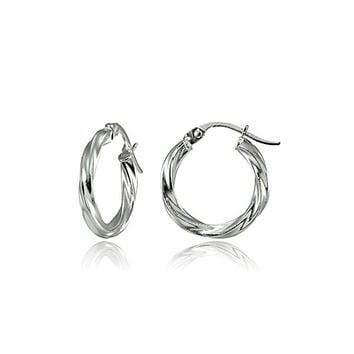 Sterling Silver 2mm Twist Small Round Hoop Earrings