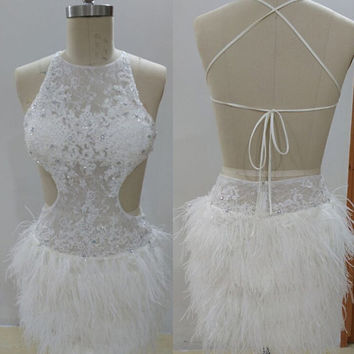 Sexy White Lace Cocktail Dress,Short Cocktail Dress,Custom Short Party Dresses,Robe De Cocktail,Short Prom Dresses,Feather Evening Dresses