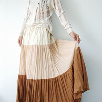NO.53 Cream-Dusty Peach-Terracotta Cotton, Hippie Gypsy Boho Color-Block Tiered Skirt