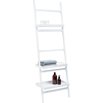 DWBA Stone Wall Towel Rack Ladder for Bathroom Spa Towel Hanger 3 Shelves, White