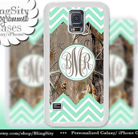 Monogram Galaxy S4 case S5 Mint Chevron Stripes Real Tree Camo Deer Personalized Samsung Galaxy S3 Case Note 2 3 Cover Zig Zag