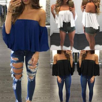 Fashion Women Summer Loose Casual Off Shoulder Shirt Crop Tops Blouse Ladies Top Size S-XL
