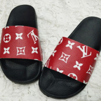 Louis Vuitton New Fashion Women's Print LV thick bottom Slippers Sandals Red