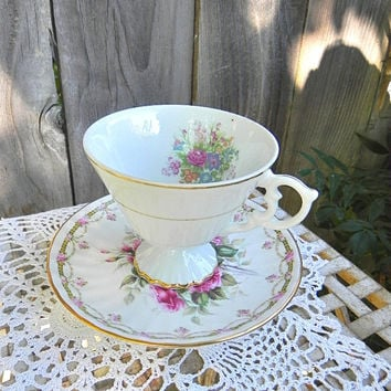 Rose and Floral Eclectic match China Cup and Saucer... Upcycle Votive/Tealight Holder... Cottage Style Decor