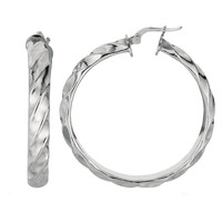 Sterling Silver With Rhodium Finish Concave Twisted Cable Round Hoop Earrings  - 20 mm Diameter