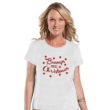 Custom Party Shop Womens Bump's First Christmas T-shirt