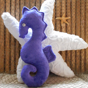 Seahorse pillow, nautical decor, purple seahorse, minky dot seahorse, nautical pillows,sea life pillows, coastal living decor