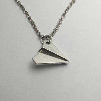Paper Airplane Necklace in silver color cute paper plane charm casual wear great for birthdays gifts for girls unique jewelry for everyday