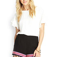 LOVE 21 Embroidered Trim Woven Shorts Black/Coral