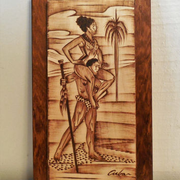 """Burned Wood Plaque Made in Cuba 11 1/2"""", Vintage Wood Plaque, Attractive Man and Woman on Beach, Signed Cuban on Front, Santiago De Cuba"""