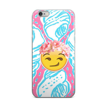 Flower Crown Blushing Princess Emoji Cute Girly Girls Purple & Sky Blue iPhone 4 4s 5 5s 5C 6 6s 6 Plus 6s Plus 7 & 7 Plus Case