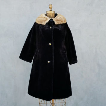 60s Faux Fur Coat Black, Tan Collar, Big Gold Buttons