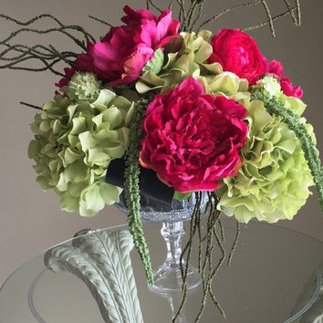 Fushia peonies with green hydrangea centerpiece silk floral arrangement in glass stemmed vase