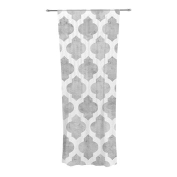 "Amanda Lane ""Gray Moroccan"" Grey White Decorative Sheer Curtain"