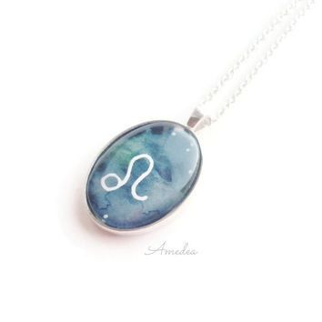 Leo pendant, zodiac jewelry, watercolour handpainted zodiac sign, with sterling silver plated chain
