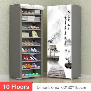 10 floors Shoes Storage Cabinet Organizer Shelf Household Shelves Closet Shoe Storage Shoe Rack with Dustproof Cover Pink / Grey