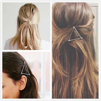 ANGELANGELA Minimalist HOT Gold Silver Hollow Triangle Geometric Metal Hairpin Hair Clip Clamps Accessories Barrettes Bobby Pin Ponytail Holder Statement Women's GIFT Headwear Styling Jewelry