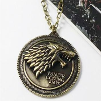 """Game of Thrones necklace House Stark Winter Is Coming Bronze 2"""" Metal Family Crest pendant jewelry souvenirs"""