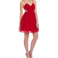 Jodi Kristopher Illusion Beaded Sides Party Dress | Dillards
