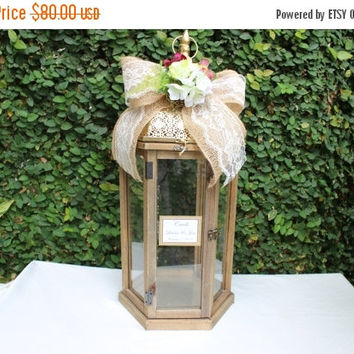 ON SALE Wedding Card Box /  Lantern Large Wood card Box / Rustic Wedding Card Holder Box / Rustic Wedding Decor