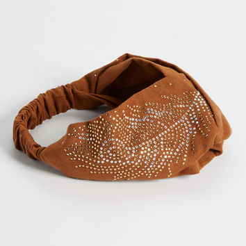 faux suede headwrap with rhinestones in brown | maurices