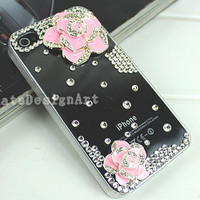 iphone 4s case, handmade iphone 4 cases iphone cover skin bling bling iphone case - crystal flowers iphone 4 cases