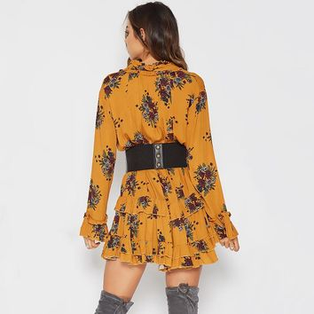 Fashion loose ruffles print flower long flare sleeve V-neck  woman's Casual a-line dress