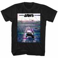 JAWS-GLITCHY-BLACK ADULT S/S TSHIRT