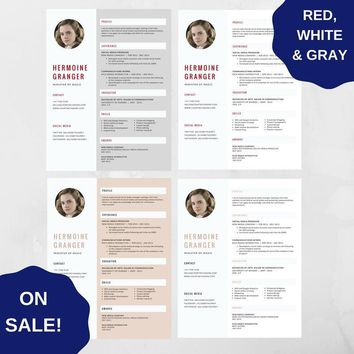 Professional Resume Template 03 - CV Template for MS Word, Creative Resume, Modern Resume Design, Resume Instant Download 3 versions SALE!