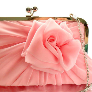 SALE Baby Pink Rose Clutch With Chain  Size Large  by HeidiCreations