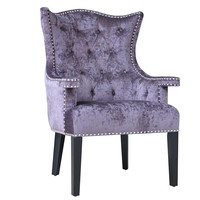 Crestview Collection Fifth Avenue Upholstered Eggplant Velvet Chair W/ Nailhead Trim
