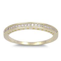 925 Sterling Silver CZ Half Way Eternity Round Ring 2MM Yellow Plated