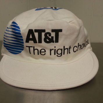 Vintage 80's AT&T High Seas Radio Telephone Service Promotional Painters Cap Maritime Boats to Land Advertising Cap