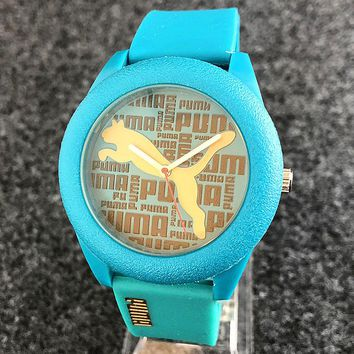 PUMA Fashion Woman Men Chic Quartz Movement Wristwatch Silicone Watch Green I-H-JH