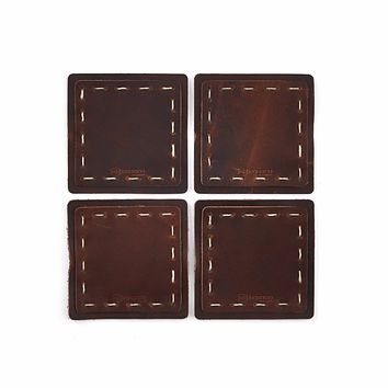 Hand Sewn Leather Coaster - Set of Four
