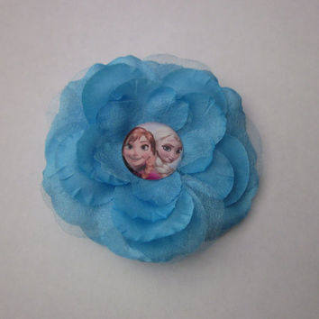 Frozen Princess Ana Princess Elsa Disney Princess Flower Hair Clip By Sweetpeas Bows & More