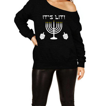 Chanukah Sweater Hanukkah Gift Ideas For Women Jewish Clothing Holiday Present For Her Menorah Off The Shoulder Slouchy Sweatshirt - SA692
