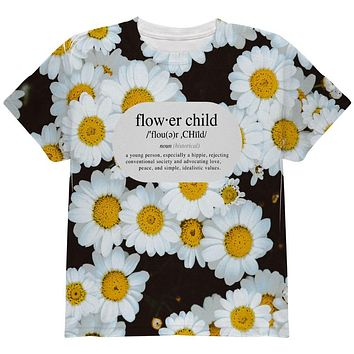 Flower Child Definition Daisies All Over Youth T Shirt