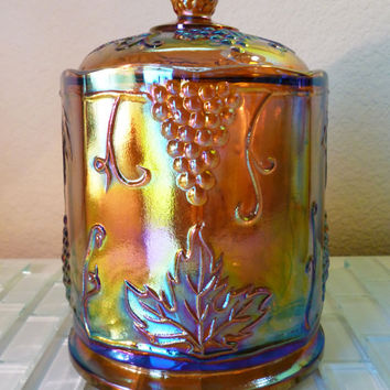 Vintage Carnival Glass Gold Amber Jar Container Grapes Pineapple Vanity Plants Lusterware Iridescent Rainbow